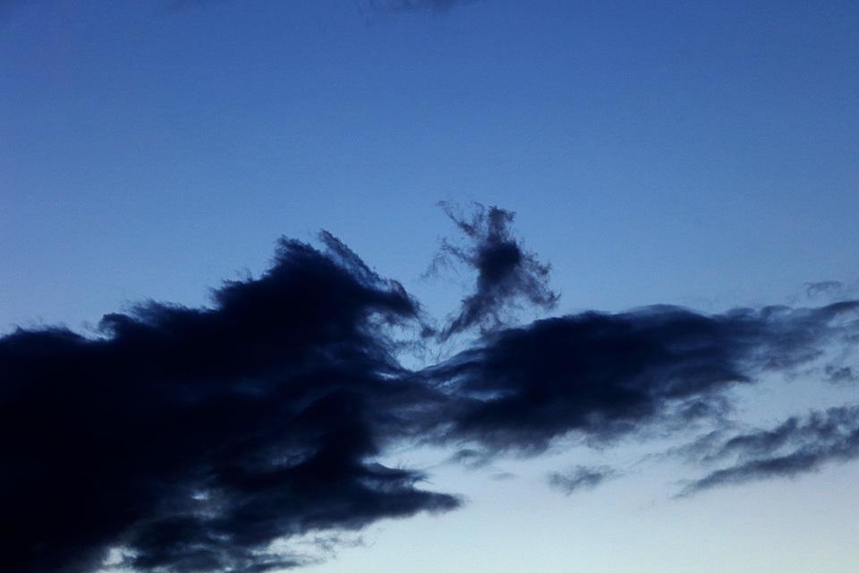 火を吐く巨大な雲母(きらら:『犬夜叉』に登場する猫又妖怪)に追われて、這々の体で逃げるキングギドラ