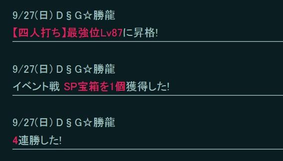 勝龍さん最強位Lv87昇格