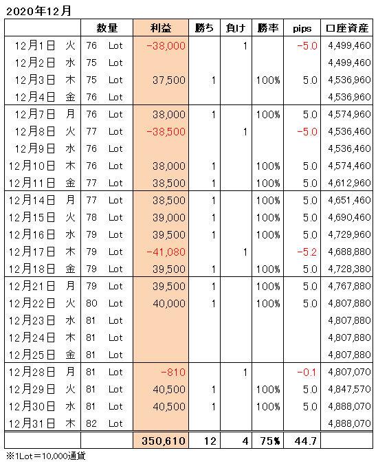 FXトレード手法月間収支表2020年12月