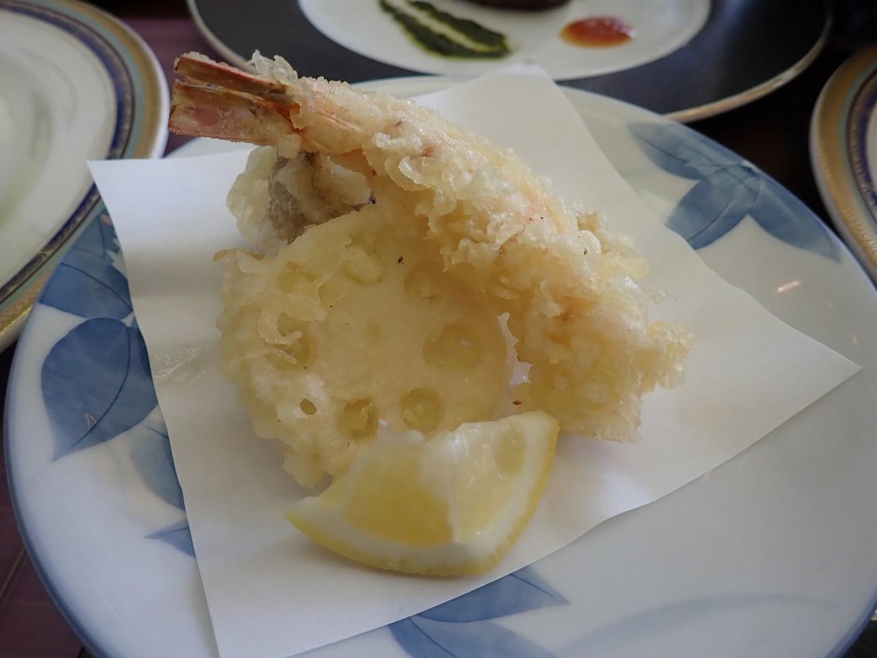 車海老の天ぷら抹茶塩添え