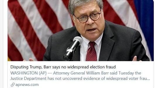 20201203公聴会で不正が次々と明白に→AP「司法長官『選挙に不正なかった』」→司法省「APの虚偽報道」