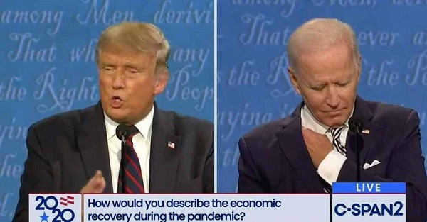 トランプ支持者 バイデン氏の隠しイヤホン説を拡散。米大統領選討論会