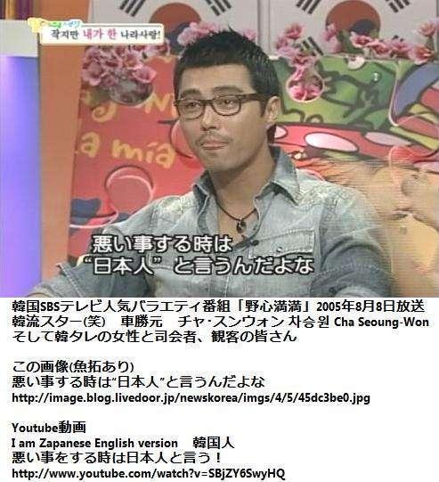 """韓流スター「悪いことする時は日本人と言うんだよな、必ずね」悪い事をする時は""""日本人""""と言うんだよな!by チャ・スンウォン"""