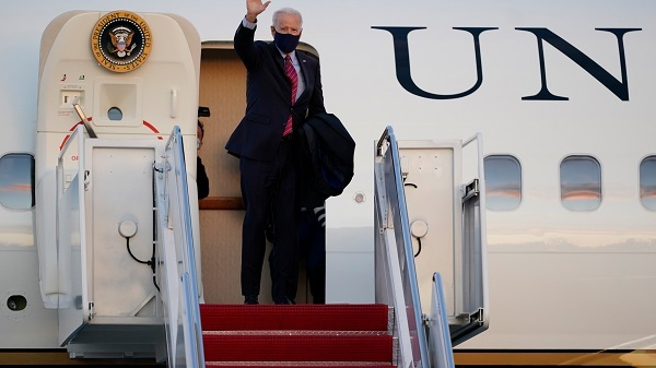 President Joe Biden boards Air Force One