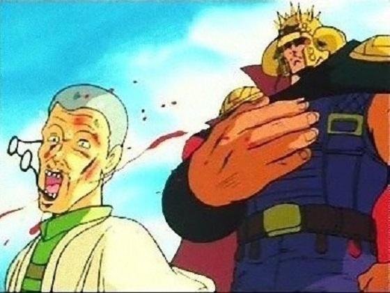 ラオウは、子供にそう教えると解き放ち、村長の前に立ちはだかる!そして、村長にビンタ!「北斗の拳」無抵抗主義の村-日本