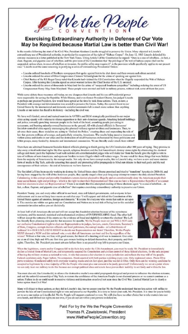 WTPC、トランプに限定戒厳令の宣言を要請20201211米軍中将「大統領は戒厳令を出せ!国家緊急事態を宣言し、反乱法を発動すべき」・トランプ「起こる」