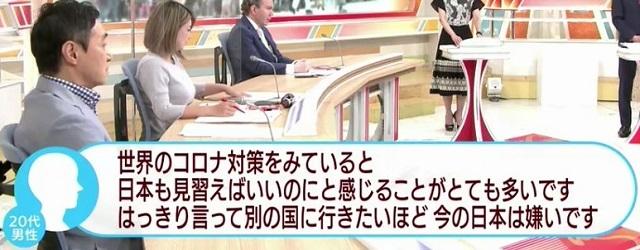20200816テロ朝視聴者「別の国に行きたいほど今の日本は嫌い!コロナ対策」・加藤浩次「日本は劣ってない」
