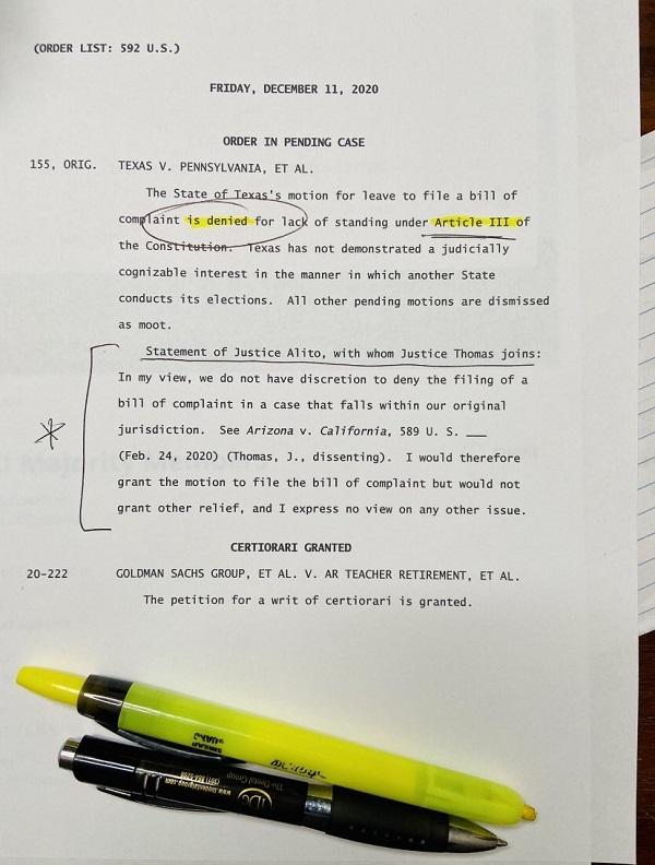 20201213連邦最高裁が棄却・次は戒厳令&再投票&軍事法廷やFISA裁判か・国家情報長官が支那介入を断言