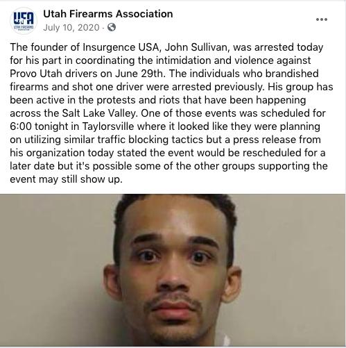 サリバンは、保守派に対する暴力で逮捕されたユタ州で有名な暴力的な扇動者です ●