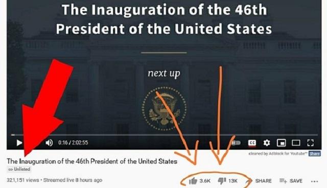 20210121フロリダ州でトランプ大歓迎!バイデン大統領就任式のYouTubeは「ダメ」が「いいね」の約7倍