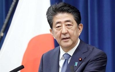 会見で辞任の意向を表明する安倍晋三首相=28日午後、首相官邸(撮影・春名中)