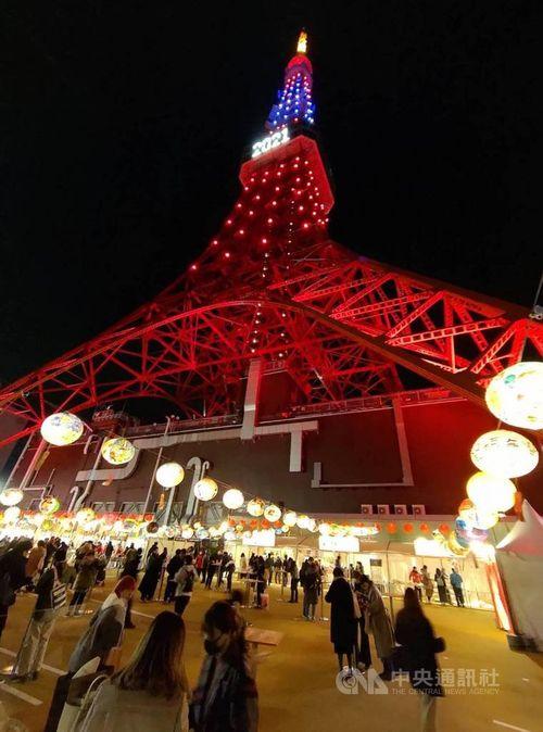 東京タワーが台湾カラーに 青・白・赤のライトで台日の友好願う