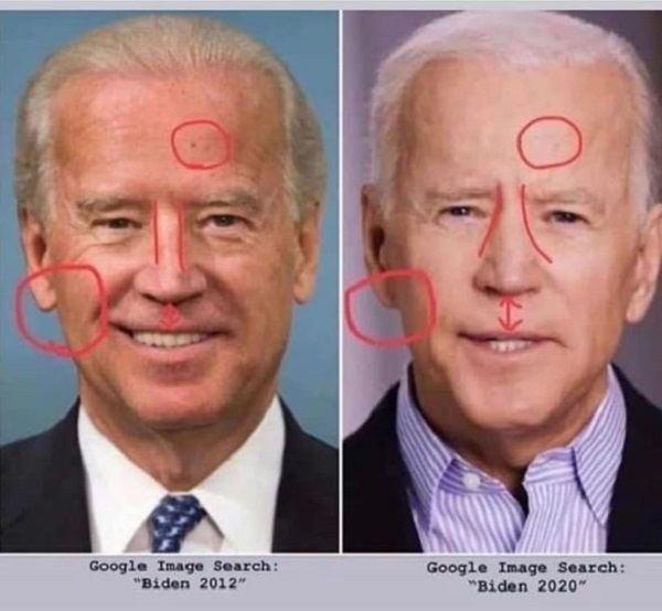 左:本物のジョー・バイデン  右:最近よく登場する偽物(影武者・代役)