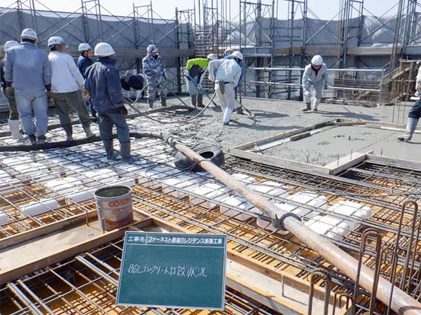 02227階立上り8階床コンクリート打設状況