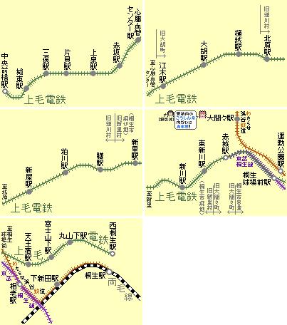 上毛電鉄のドット字路線図(連結)