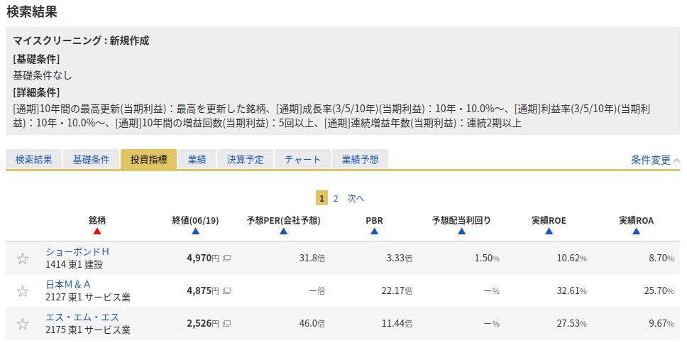 10年スクリーニング検索結果_投資指標_3