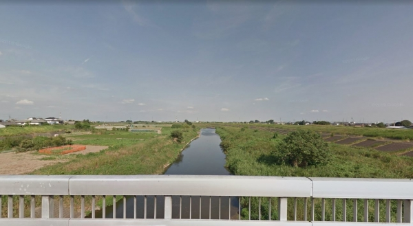 鷺山古墳23小山川最下流の小山川橋より下流方向