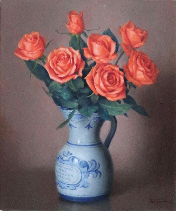 webスペインの花器とバラ油F8