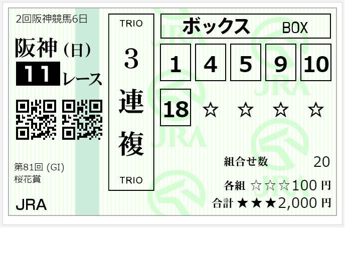 2021桜花賞雪桜馬券