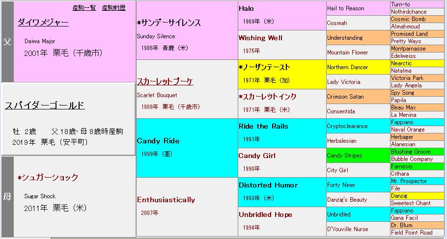スパイダーゴールド血統表
