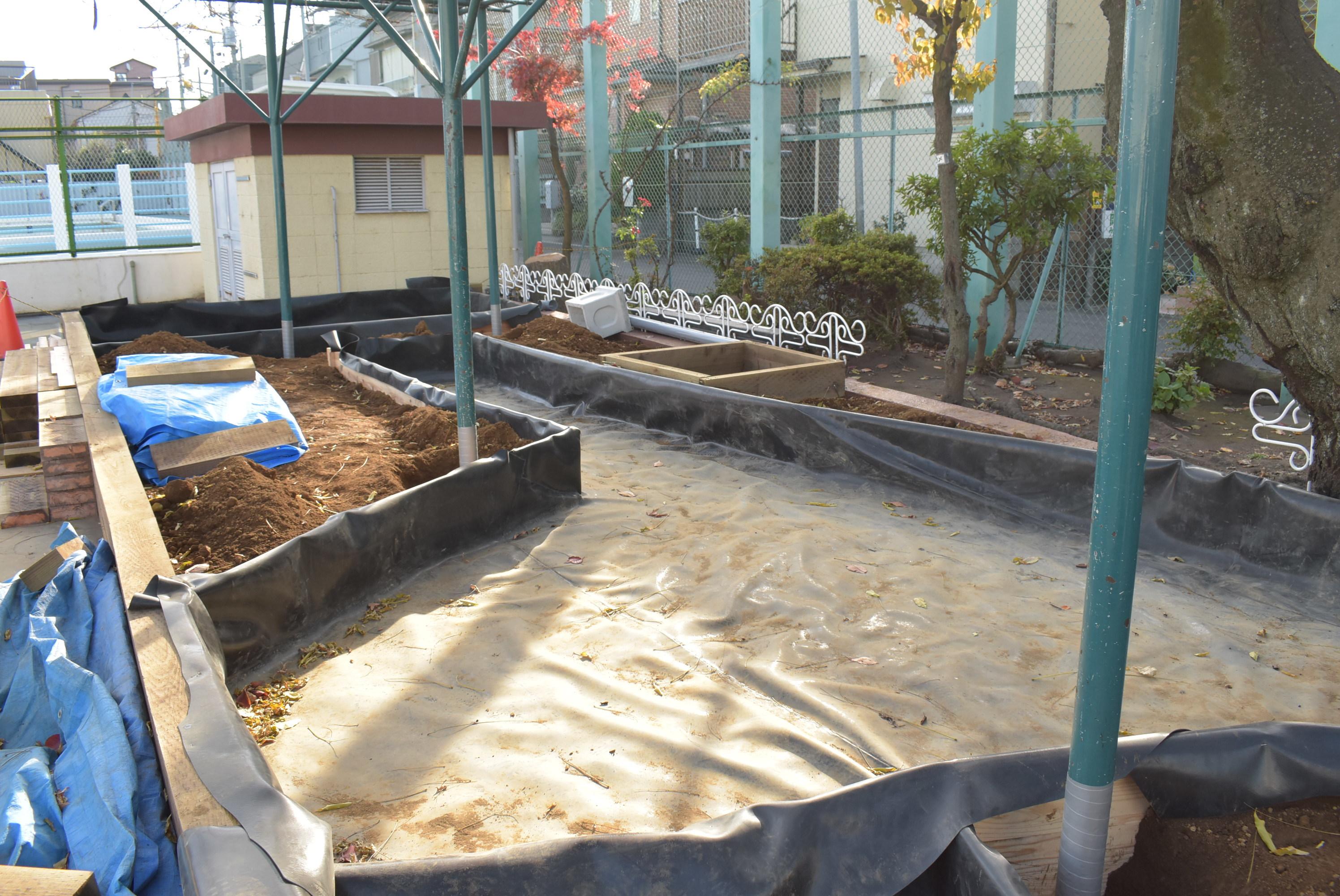 ⑪2021 岩淵ビオトープ 防水シート設置後