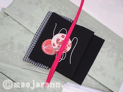 1-27草色結城紬×手毬帯01
