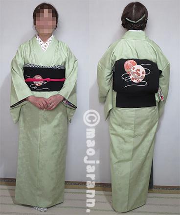 1-27草色結城紬×手毬帯03