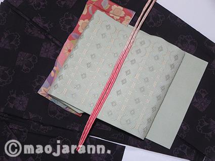 4-3八重桜単衣大島紬×読谷花織01