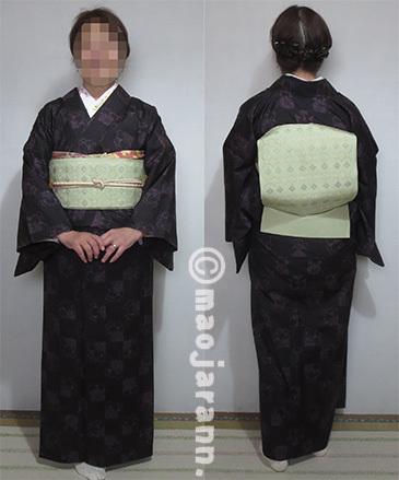 4-3八重桜単衣大島紬×読谷花織04