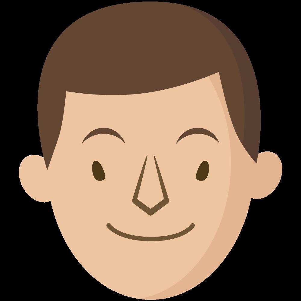 シンプルでかわいい大人の男の人の顔だけイラスト