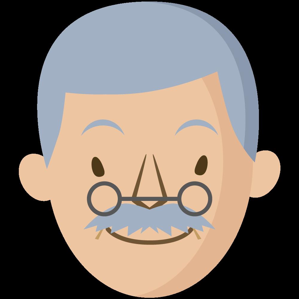 シンプルでかわいい白髪で眼鏡をかけた祖父の顔だけイラスト