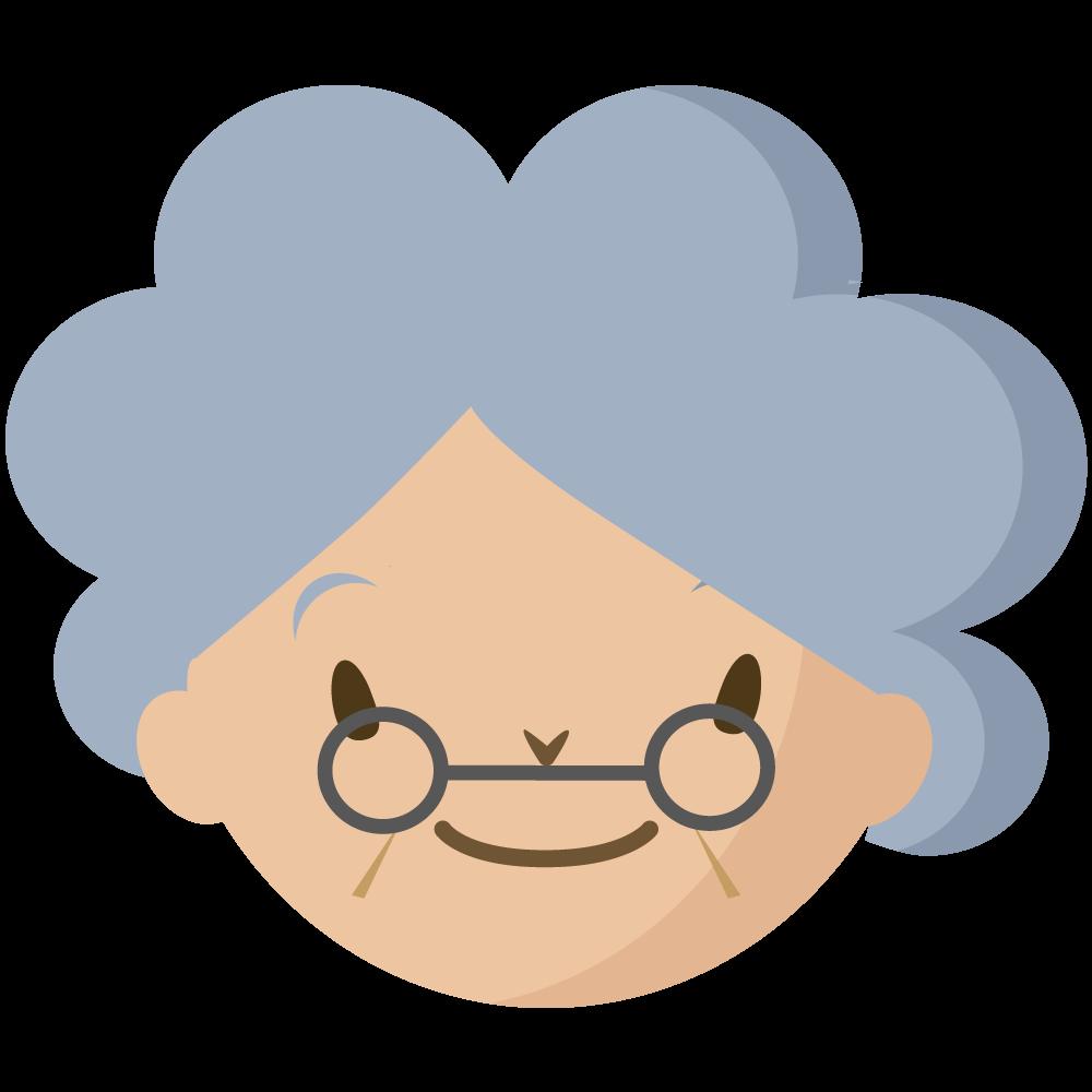 シンプルでかわいい白髪で眼鏡をかけた祖母の顔だけイラスト