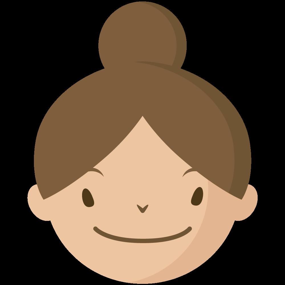 シンプルでかわいい髪をアップにした大人の女の人の顔だけイラスト