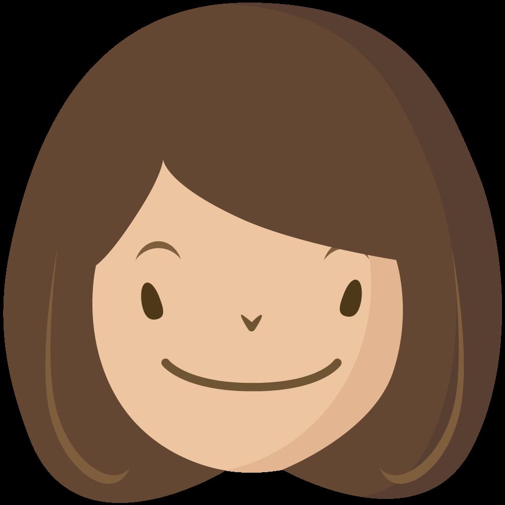 シンプルでかわいい大人の女の人の顔だけイラスト