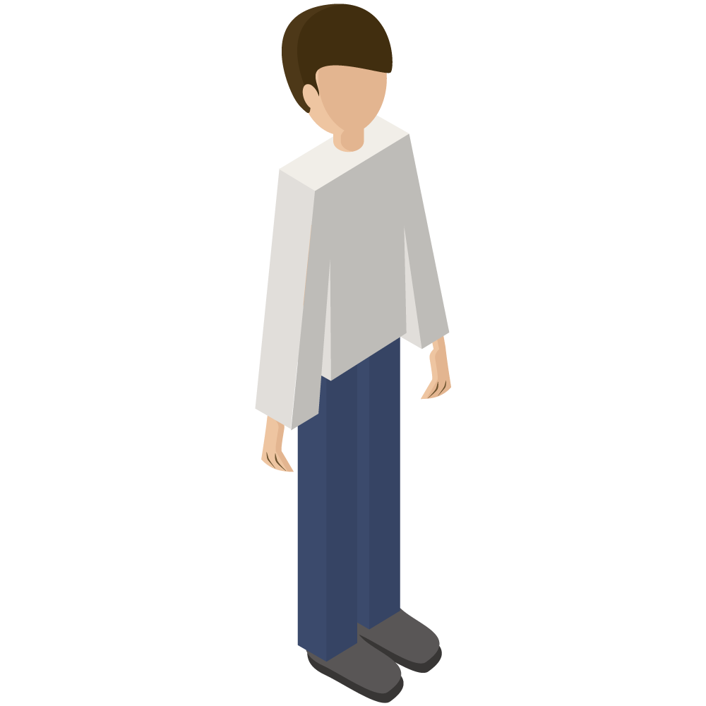 シンプルでかわいい3Dアイソメトリックの男性のアイコン