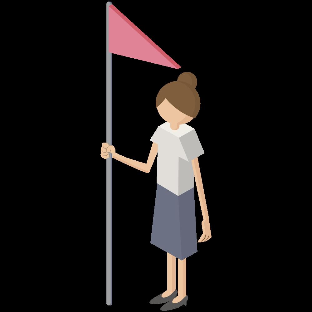 シンプルでかわいい3Dmapアイソメトリックの旗flagを持つ女性イラストyouarehere