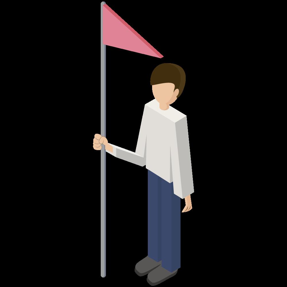 シンプルでかわいい3Dmapアイソメトリックの旗flagを持つ男性イラストyouarehere