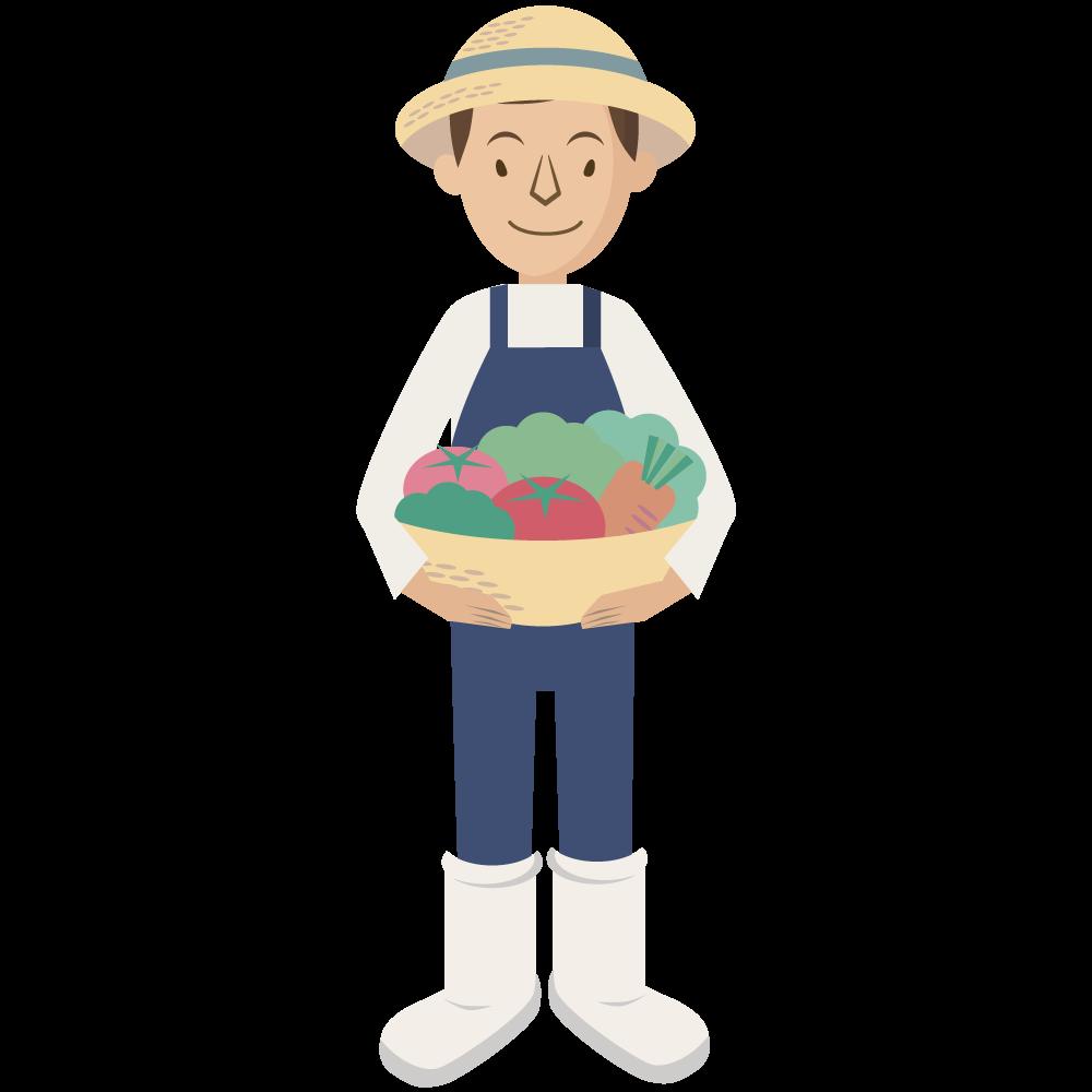 シンプルでかわいい野菜の入った籠を持つ農業の麦わら帽子をかぶった男の人のイラスト