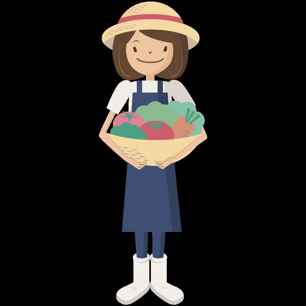 シンプルでかわいい野菜の入った籠を持つ農業の麦わら帽子をかぶった女の人のイラスト