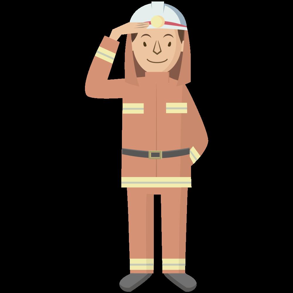 シンプルでかわいい男の消防士イラスト