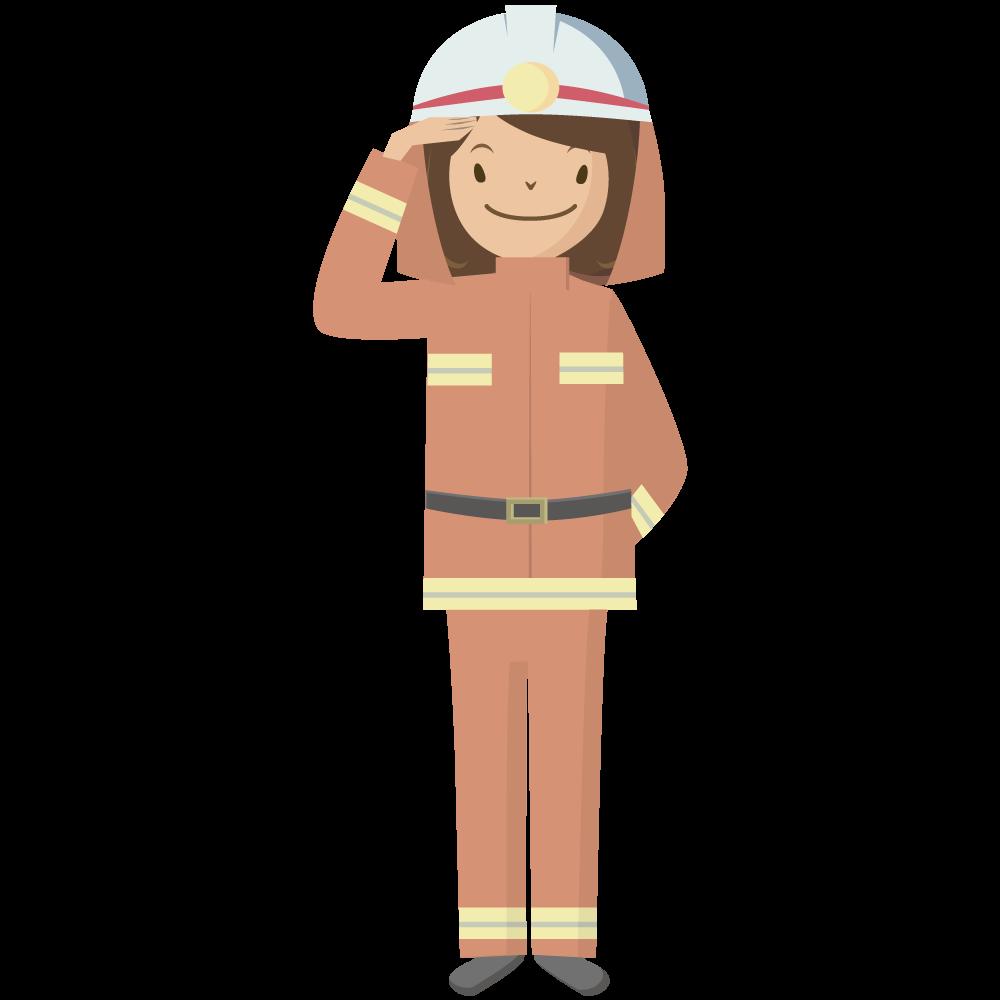 シンプルでかわいい女の消防士イラスト