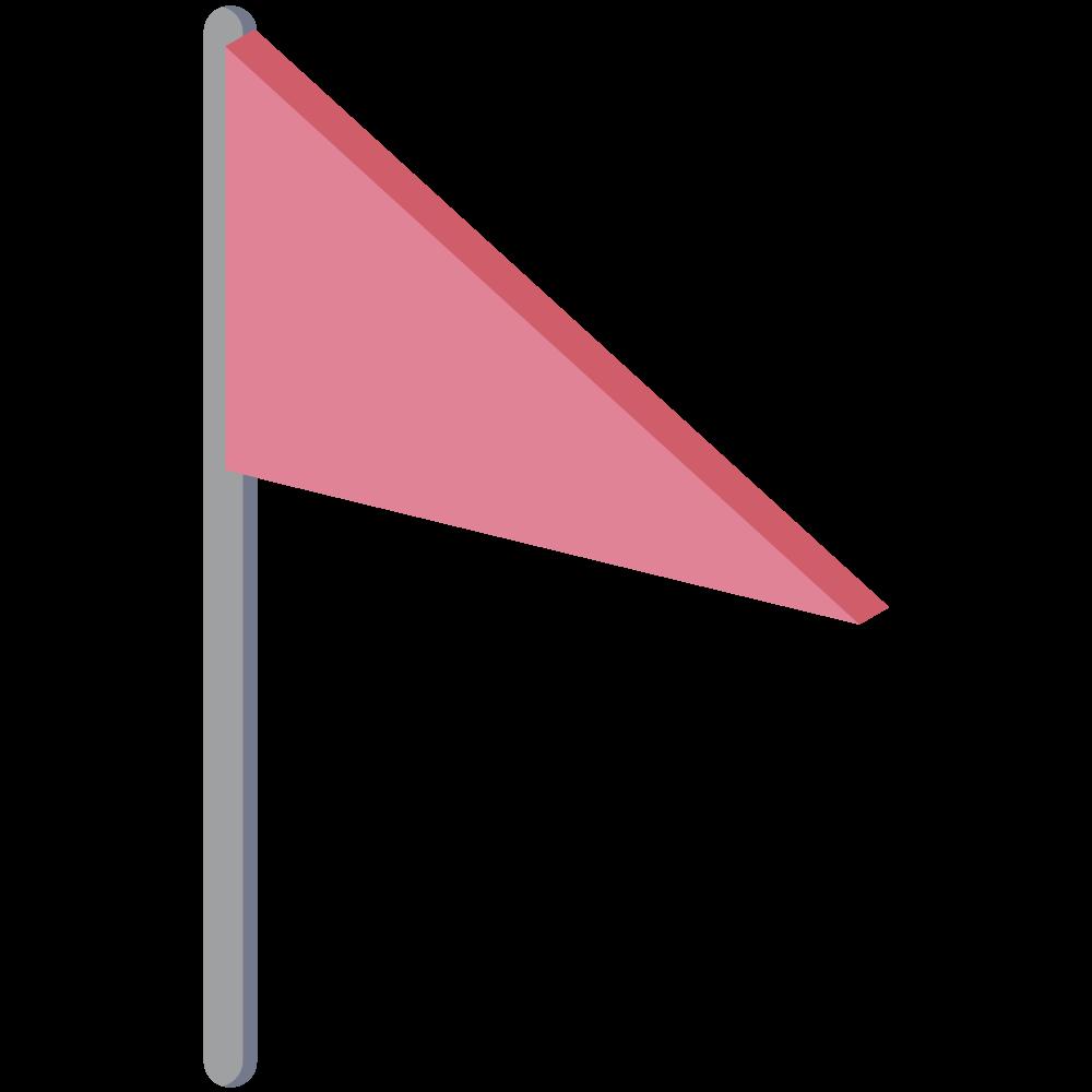 シンプルでかわいい地図上で現在地を示すアイソメの赤い旗のアイコン