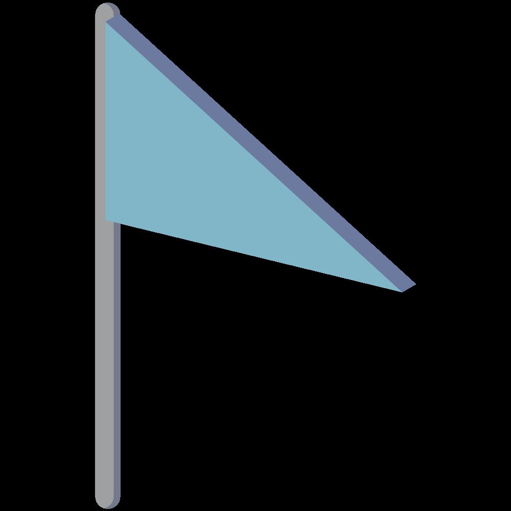 シンプルでかわいい地図上で現在地を示すアイソメの青い旗のアイコン