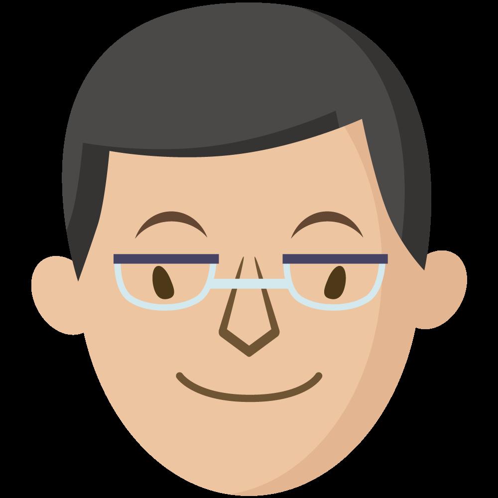 シンプルでかわいいメガネをかけた大人の男の人の顔だけイラスト