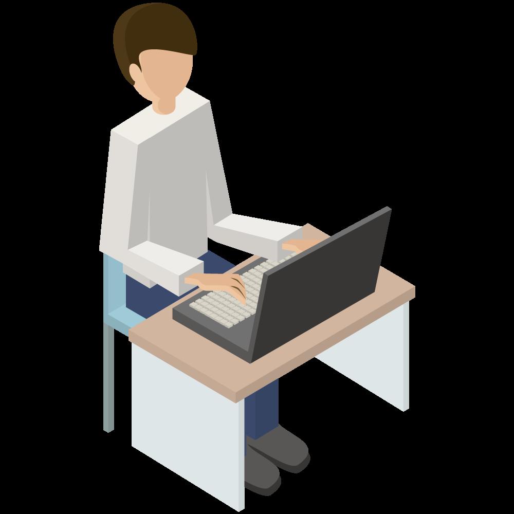 シンプルでかわいい3Dアイソメトリックのパソコンをしている男性のアイコン(右向き)