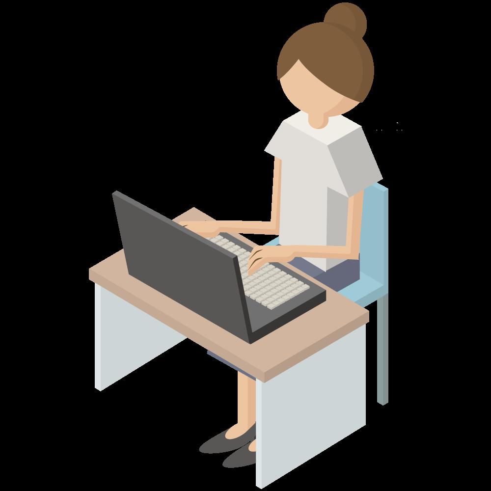 シンプルでかわいい3Dアイソメトリックのパソコンをしている女性のアイコン(左向き)