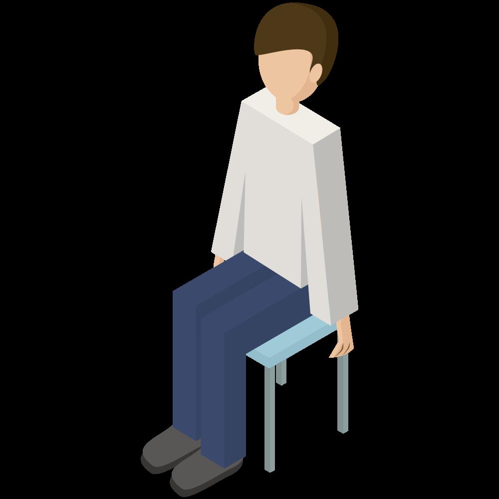 シンプルでかわいい3Dアイソメトリックの椅子に座っている男性のアイコン(左向き)