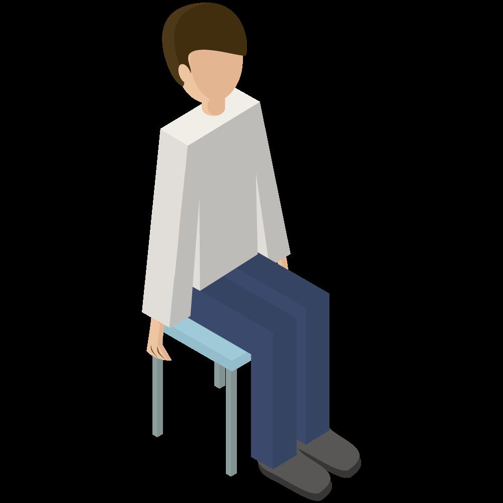シンプルでかわいい3Dアイソメトリックの椅子に座っている男性のアイコン(右向き)