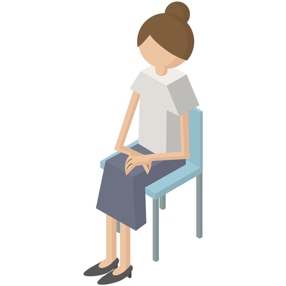 シンプルでかわいい3Dアイソメトリックの椅子に座っている女性のアイコン(左向き)