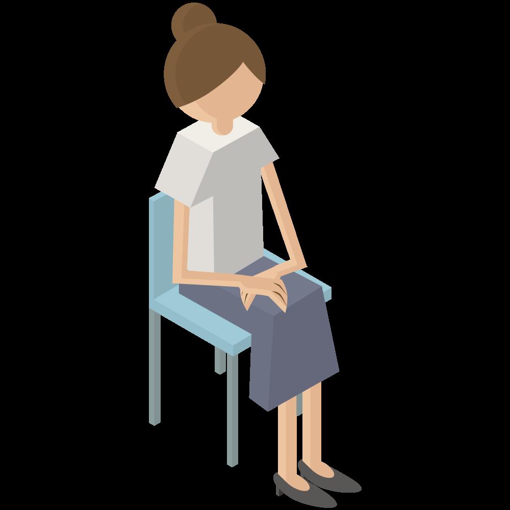 シンプルでかわいい3Dアイソメトリックの椅子に座っている女性のアイコン(右向き)